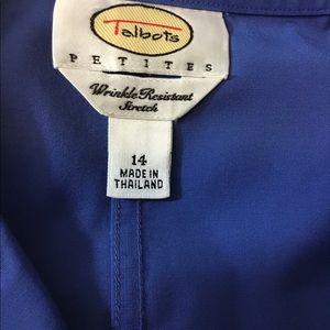 Talbots Womens Blue Button Down 14 Pet Gorgeous (c